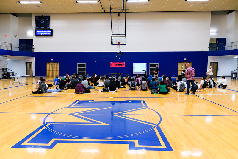 PE/weightlifting teacher Mike Connor speaks to his class in the newly-renovated gymnasium. Back to school day at McNary High School on Wednesday, September 4, 2019 in Keizer, Ore.