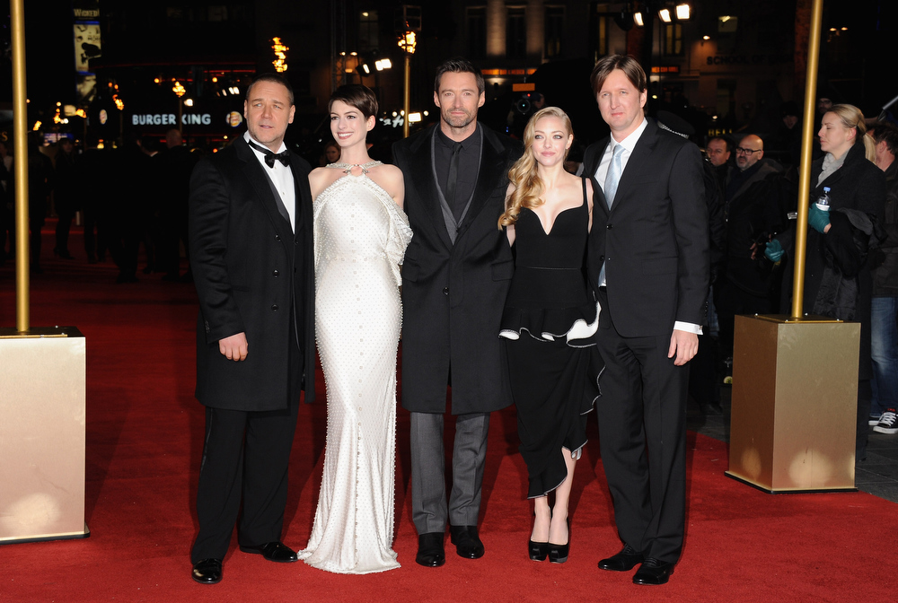 Description of . Actors Russell Crowe, Anne Hathaway, Hugh Jackman, Amanda Seyfriend and director Tom Hooper attend the