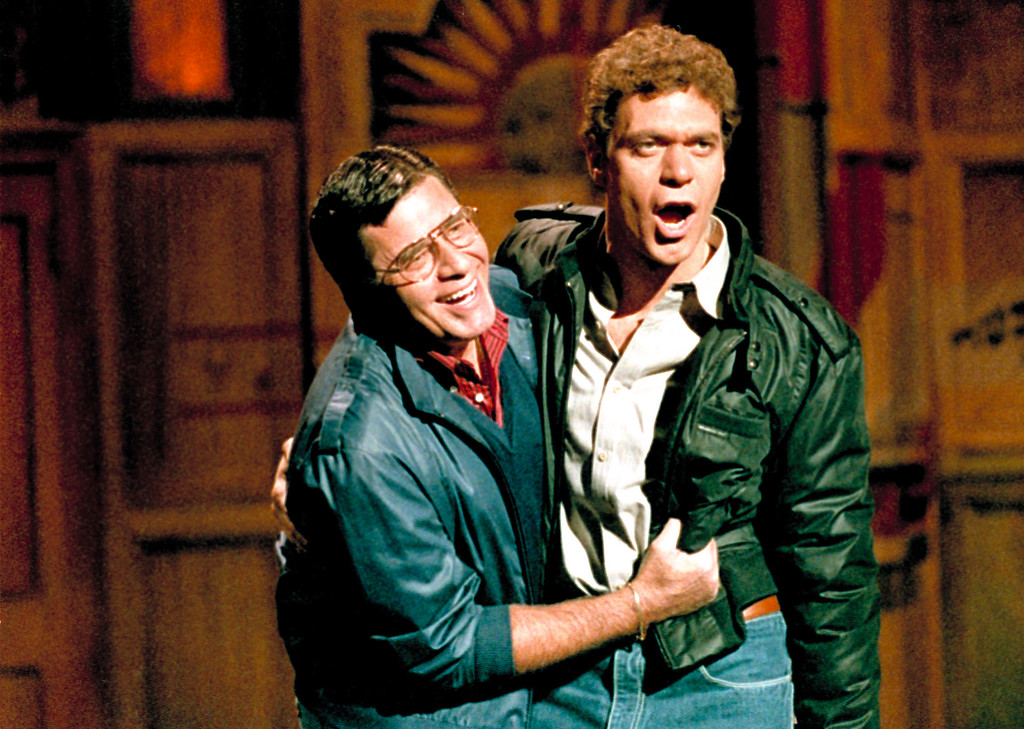 . Actors Jerry Lewis, left, and Joe Piscopo clown around during a promotional photo session in New York Thuesday November 17, 1983 for NBC-TV\'s Saturday Night Live. (AP Photo/Richard Drew)