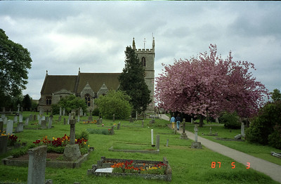 A much better view of the village church and graveyard.  Beautiful tree in full bloom, and the usual English grey sky completes the picture.