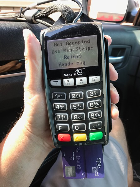 I stopped at Wendy's. This is how they handle credit cards at fast food drive thrus in Canada.