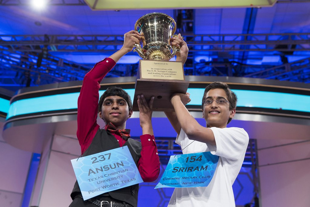 ". <p><b> History was made at the National Spelling Bee when, for the fourth time in the Bee�s 89-year history, the competition ended in a � </b> <p> A. Tie <p> B. Disqualification <p> C. Double homicide <p><b><a href=\'http://www.twincities.com/nation/ci_25862144/dozen-spellers-moving-national-spelling-bee-finals\' target=""_blank\"">LINK</a></b> <p>    (AP Photo/ Evan Vucci)"
