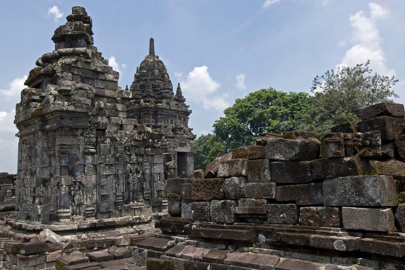 Detail of ruins inside the Sewu Temple in Prambanan in Java, Indonesia