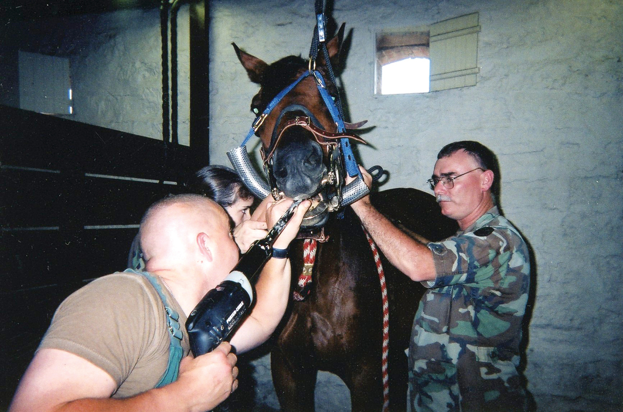 "Father Richard Daise, right, works with one of the horses at Ft. Riley, Kan. The horse was one of the mounts of the ""Commanding General's Own Mounted Color Guard."" Horses periodically need to have their teeth filed to prevent sharp points which can irritate the cheeks or the tongue and the horse will have difficulty eating. Prior to entering the seminary for the Diocese of Salina, Father Daise served nearly three decades as a veterinarian in the U.S. Army. Register file photo (2002 or 2003)"