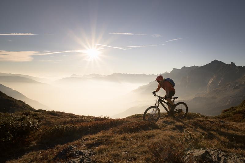 Tom Coney on Pormenaz at sunset, Servoz, Mont Blanc