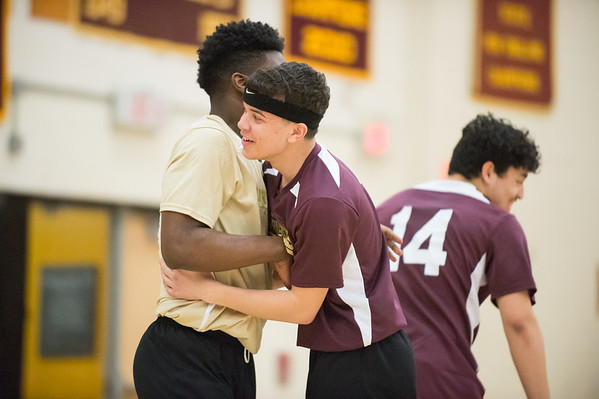 04/22/19 Wesley Bunnell | Staff New Britain volleyball was defeated by South Windsor at home on Monday evening. Oscar Carmona (2).