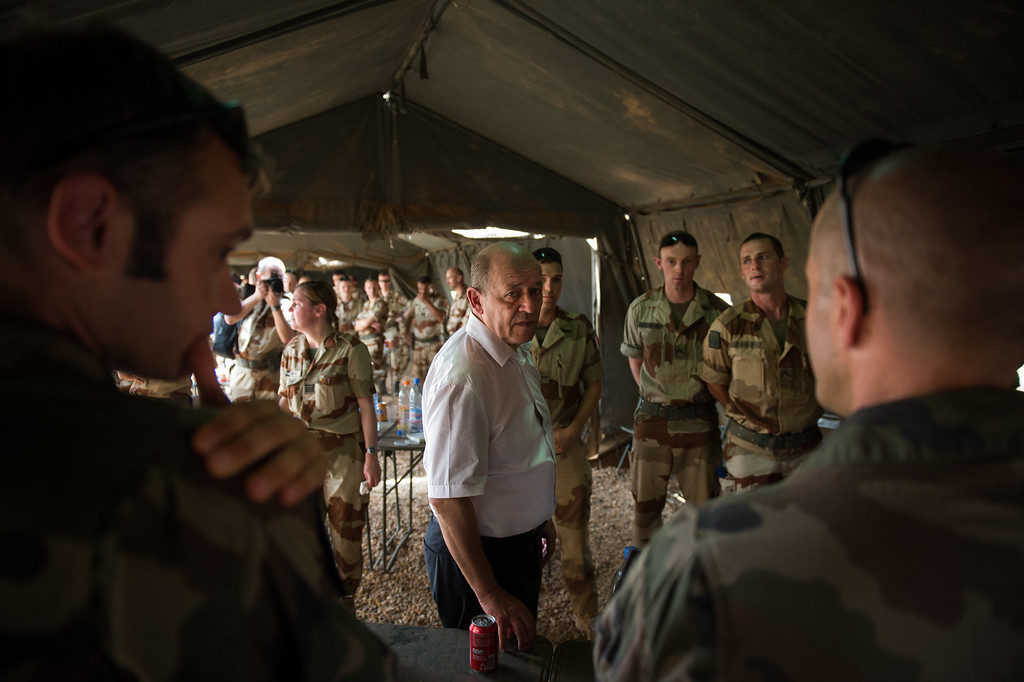 . French Defence Minister Jean-Yves Le Drian adresses to French soldiers of Serval Operation, on April 26, 2013 in French Army base of Gao. MARTIN BUREAU/AFP/Getty Images