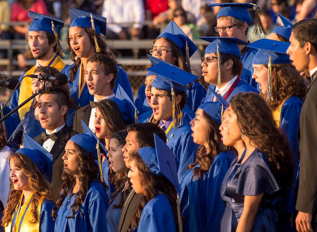 . California High choir performs during graduation at their Whittier campus stadium June 13, 2013.   (SGVN staff photo by Leo Jarzomb)
