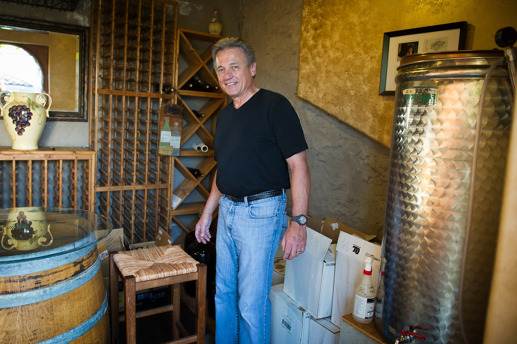 . Chet Schreiber in wine cellar at his Westlake home, Thursday, April 24, 2014. (Photo by Michael Owen Baker/L.A. Daily News)