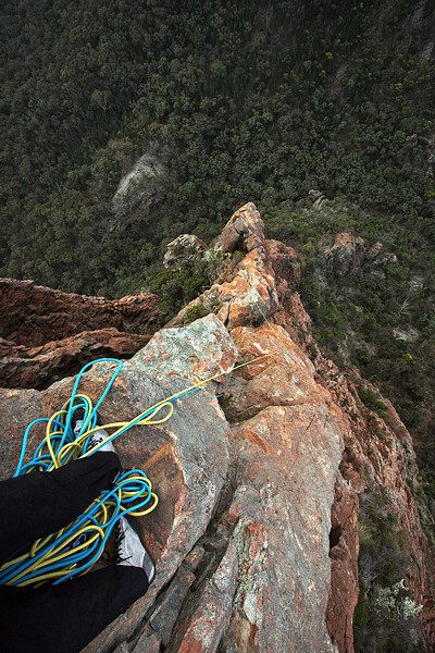 Half way up Cornerstone Rib, Crater Bluff. Trent and Andys Warrumbungles rockclimbing trip 2009.