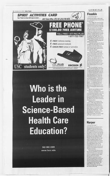 Daily Trojan, Vol. 141, No. 30, October 10, 2000