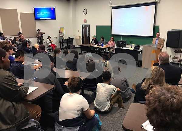 2/28/2018 Mike Orazzi   Staff Tunxis Professor Rafaele Fierro during a discussion about the opioid crisis, as part of the college's Civic Engagement Institute's series of free public events.