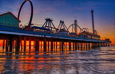 Galveston's Pleasure Pier at Sunrise
