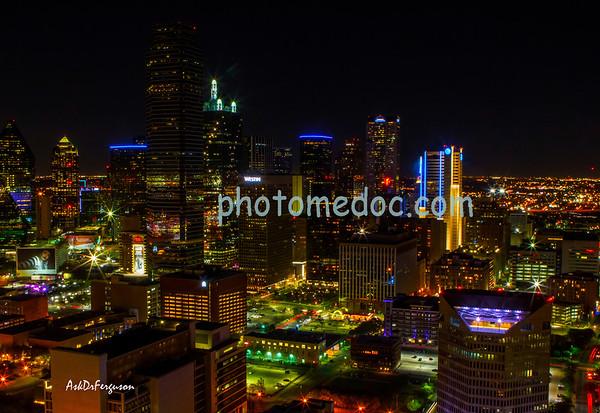 Dallas Texas at night and surrounding areas