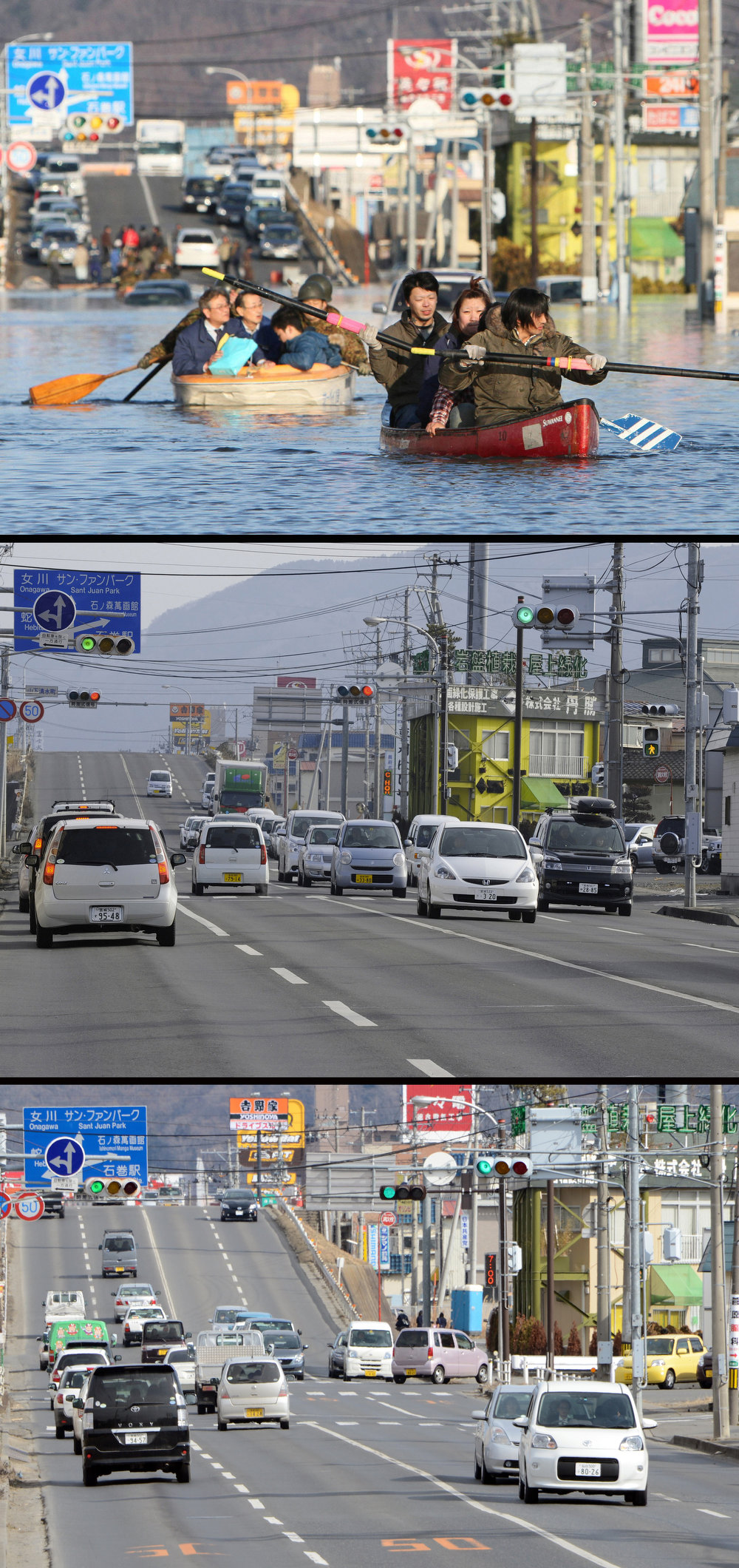 . This combination of pictures shows people evacuating with small boats down a road flooded by the tsunami in the city of Ishinomaki in Miyagi prefecture on March 12, 2011 (top) and the same area on January 13, 2012 (C) and nearly two years later on February 22, 2013.  March 11, 2013 will mark the second anniversary of the massive tsunami that pummelled Japan, claiming some 19,000 lives.   JIJI PRESS,TORU YAMANAKA,TOSHIFUMI KITAMURA/AFP/Getty Images