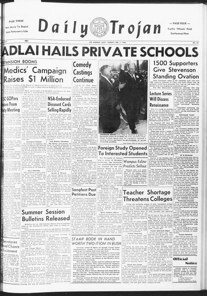 Daily Trojan, Vol. 47, No. 69, February 07, 1956