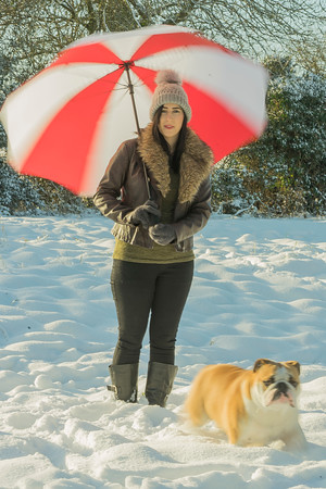 Wendy the snow Queen with mango the bulldog
