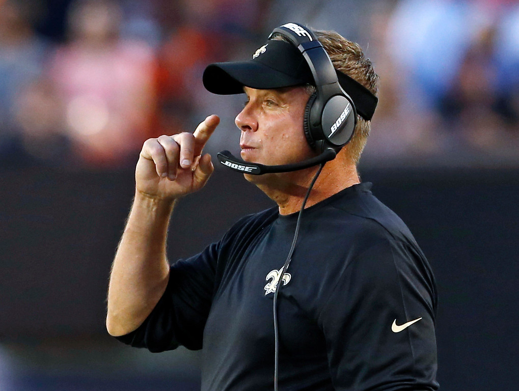 . New Orleans Saints coach Sean Payton watches during the first half of the team\'s NFL preseason football game Cleveland Browns, Thursday, Aug. 10, 2017, in Cleveland. (AP Photo/Ron Schwane)