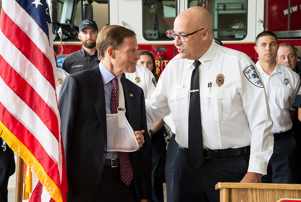 09/13/19 Wesley Bunnell | StaffrrThe New Britain Fire Department is receiving federal grant money to improve safety in the fire houses along with EMS workers receiving grant money to replace aging equipment in a press conference announced by Senator Richard Blumenthal and Mayor Erin Stewart. CEO of New Britain EMS Bruce Baxter speaks directly to Senator Blumenthal during his speech.