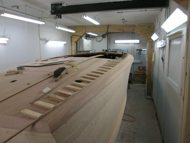 Rear starboard view of the out side deck seam router jig in place.