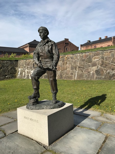 Max Manus resistance fighter. On the grounds of Akershus Fortress Oslo.