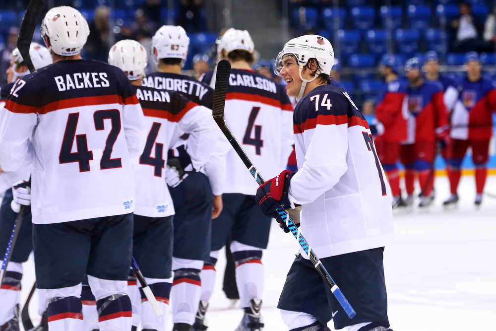 . T.J. Oshie #74 of the United States celebrates following his team\'s 5-2 victory during the Men\'s Ice Hockey Quarterfinal Playoff on Day 12 of the 2014 Sochi Winter Olympics at Shayba Arena on February 19, 2014 in Sochi, Russia.  (Photo by Martin Rose/Getty Images)