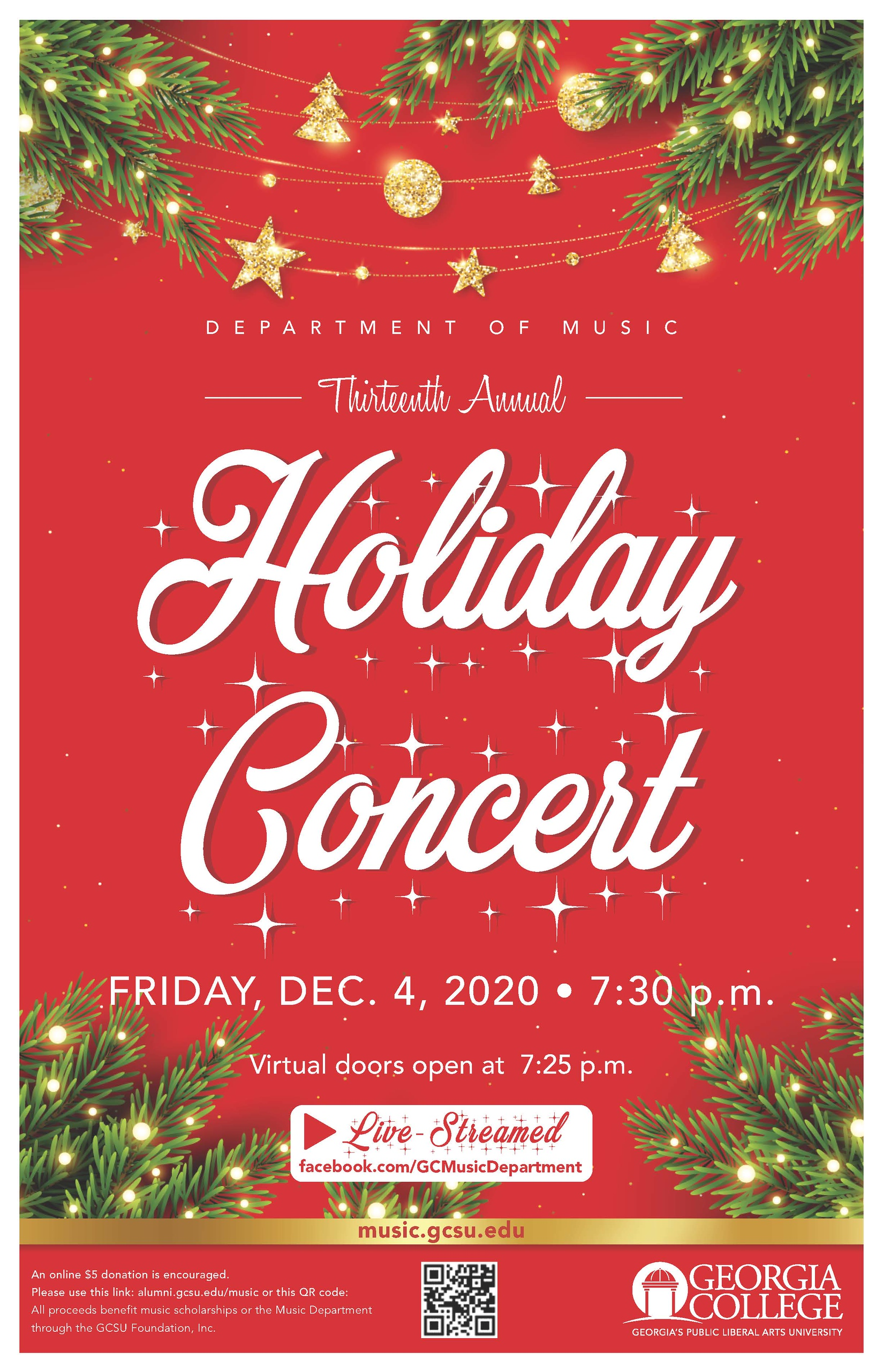 Please join us Friday, Dec. 4, 7:30 pm on facebook.com/GCMusicDepartment.