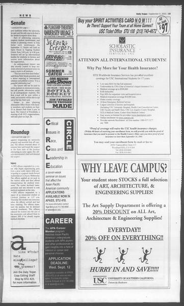 Daily Trojan, Vol. 144, No. 5, September 05, 2001