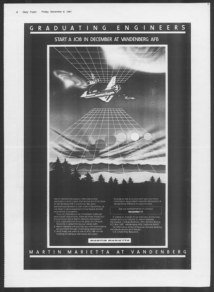 Daily Trojan, Vol. 91, No. 47, November 06, 1981