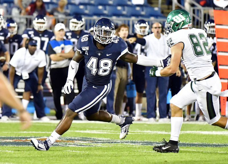 8/29/2019 Mike Orazzi   Staff UConn football's Kevon Jones (48) during the season opening game with Wagner College on Thursday night.