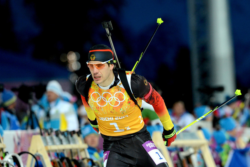 . Germany\'s Daniel Boehm competes in the Men\'s Biathlon 4x7.5 km Relay at the Laura Cross-Country Ski and Biathlon Center during the Sochi Winter Olympics on February 22, 2014, in Rosa Khutor, near Sochi.  (KIRILL KUDRYAVTSEV/AFP/Getty Images)