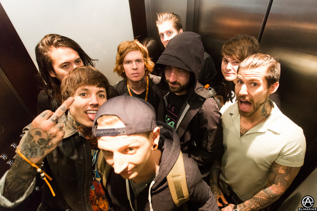 Bring Me The Horizon and Of Mice & Men elevator ride