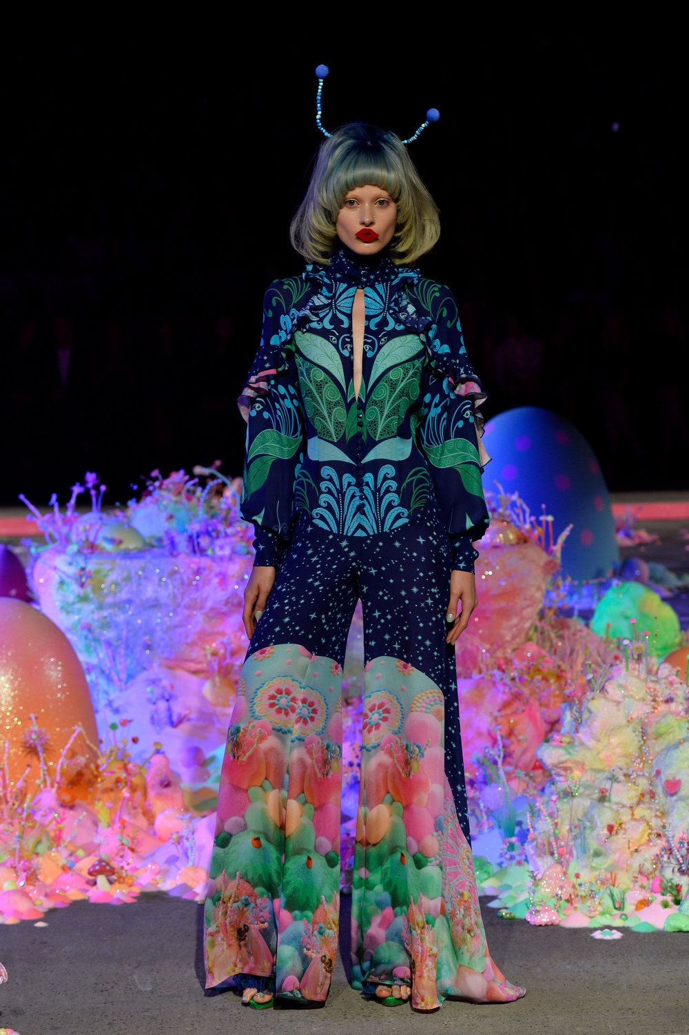 . A model showcases designs on the runway at the Romance Was Born show during Mercedes-Benz Fashion Week Australia Spring/Summer 2013/14  at Carriageworks on April 8, 2013 in Sydney, Australia.  (Photo by Stefan Gosatti/Getty Images)