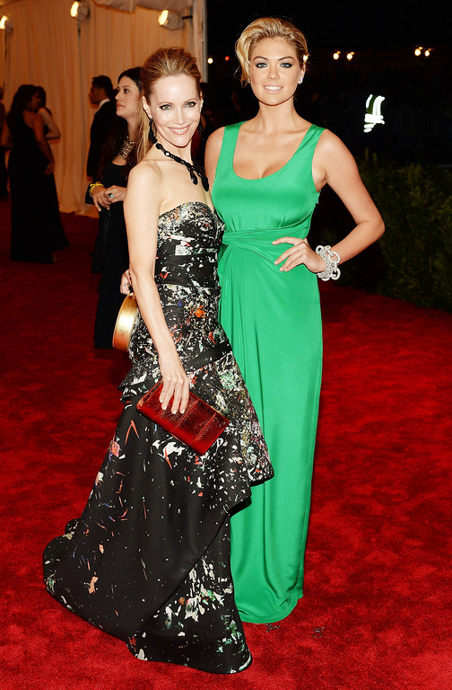 """. Leslie Mann (L) and Kate Upton attend the Costume Institute Gala for the \""""PUNK: Chaos to Couture\"""" exhibition at the Metropolitan Museum of Art on May 6, 2013 in New York City.  (Photo by Dimitrios Kambouris/Getty Images)"""