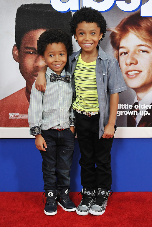 """. Actor Kaleo Elam, left, and his brother Makhari Elam attend the premiere of \""""Grown Ups 2\"""" at the AMC Loews Lincoln Square on Wednesday, July 10, 2013 in New York. (Photo by Evan Agostini/Invision/AP)"""