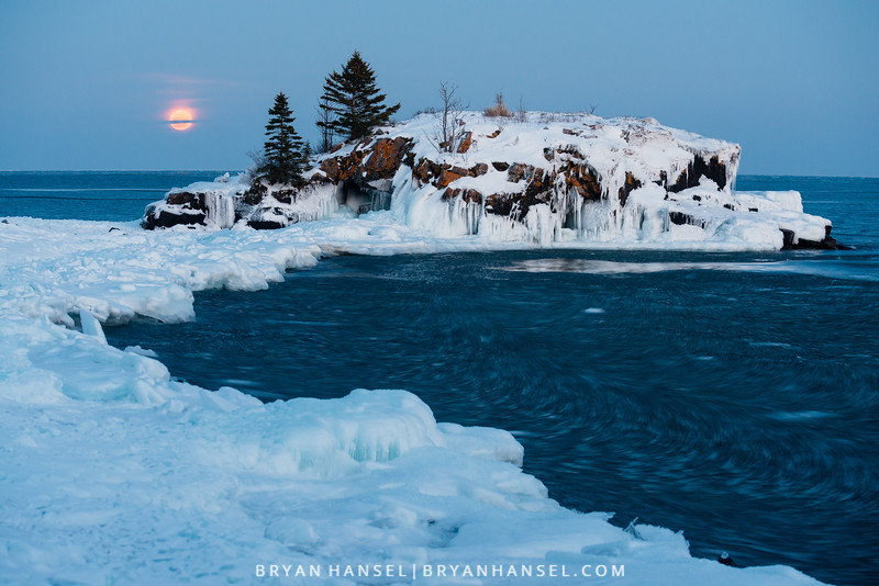 Snow Moon at Hollow Rock