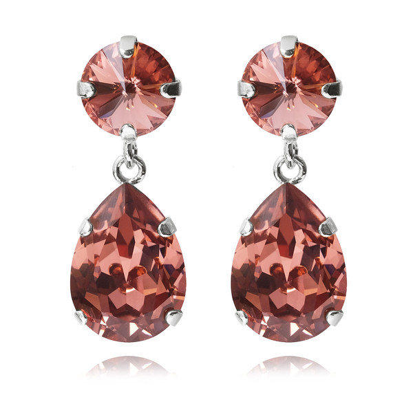 Classic Drop Earrings / Rose Blush / Rhodium