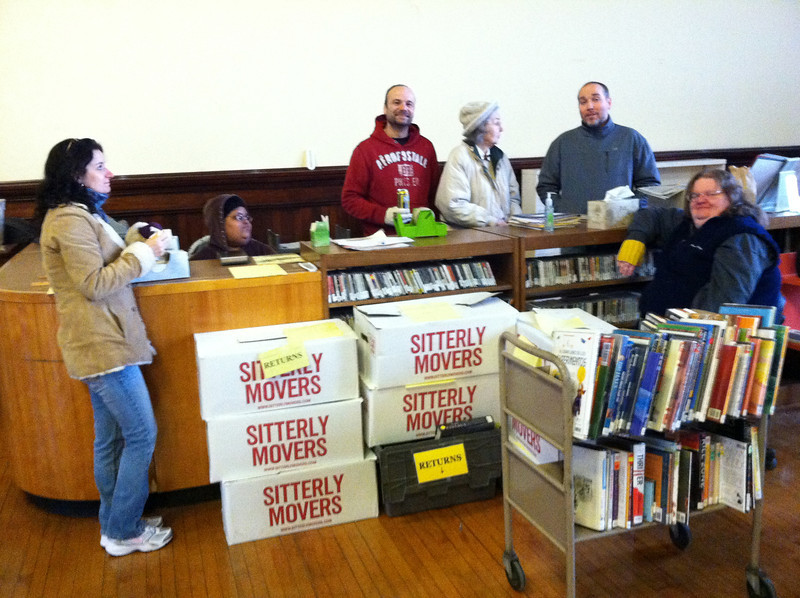The Library staff had much work to do in January in the unheated Auditorium.