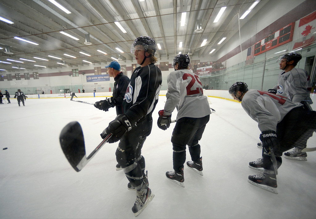 . Colorado Avalanche Mitchell Heard (48) looks on during rookie camp.  No. 1 draft pick Nathan MacKinnon took the ice on the first day of Avalanche rookie camp September 8, 2013 at Family Sports. (Photo by John Leyba/The Denver Post)
