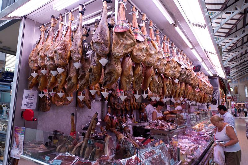 Meat shop in Mercado Central of Valencia, Spain