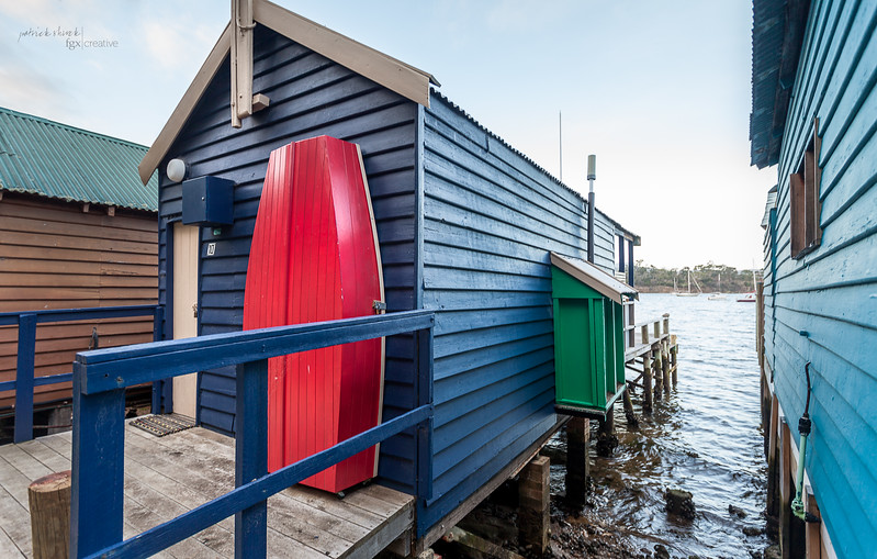Boathouses on the Derwent River in Hobart Tasmania