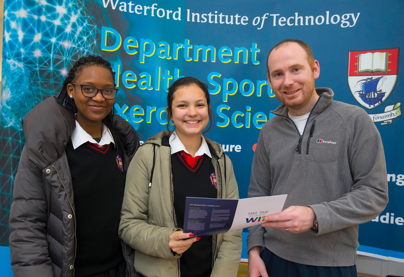 22/11/2017. Waterford Institute of Technology's (WIT) 'College Awareness Day. Pictured are Eduarda da Costa and Alanna Eden from the Presentation Secondary School, Waterford City with Patrick Delaney WIT. Picture: Patrick Browne   Hundreds of secondary school students from across the South East celebrated College Awareness Week by attending Waterford Institute of Technology's (WIT) 'College Awareness Day' on Wednesday 22 November 2017. The events gave secondary school students a taste of college life and helped students of all ages to become 'college ready' by raising awareness of the benefits of going to college. There was an  hourly talk/workshop on how to become college ready (including presentations on college life), an expo area, and a chance to explore the campus. Students attended workshops on sport, electronics, sport and creative as well as presentations on college life at WIT, student supports, new courses for 2018, routes of entry and clubs and societies. They also got an overview of WIT's new common and broad entry courses for 2018.     Elaine Larkin Communications & PR Executive, Waterford Institute of Technology   Phone: +353 51 845577  Mobile: 087-7105148