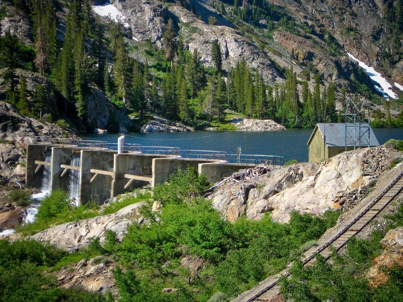 Agnew Lake dam, elevation 8508 ft. See map Green line
