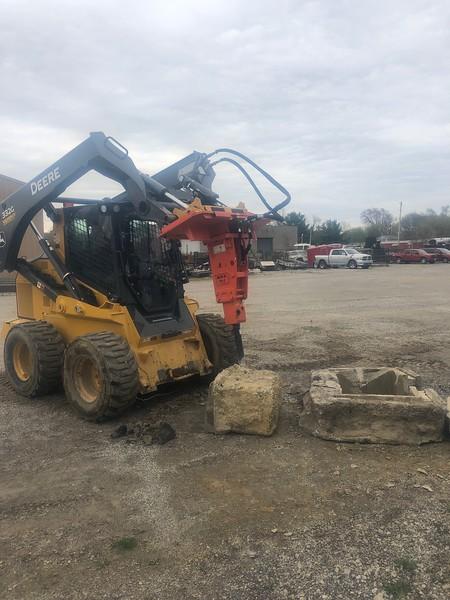 NPK PH2 hydraulic hammer on 332 Deere skid steer - Village of New London, OH  4-20 (3).jpg