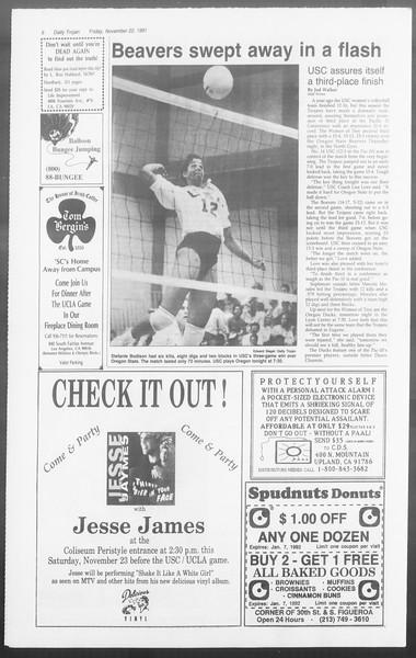 Daily Trojan, Vol. 116, No. 58, November 22, 1991