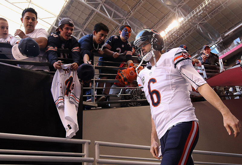 . Quarterback Jay Cutler #6 of the Chicago Bears walks out onto the field before the NFL game against the Arizona Cardinals at the University of Phoenix Stadium on December 23, 2012 in Glendale, Arizona.  (Photo by Christian Petersen/Getty Images)