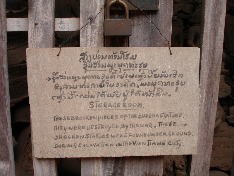 sign at Wat Si Saket, Vientiane