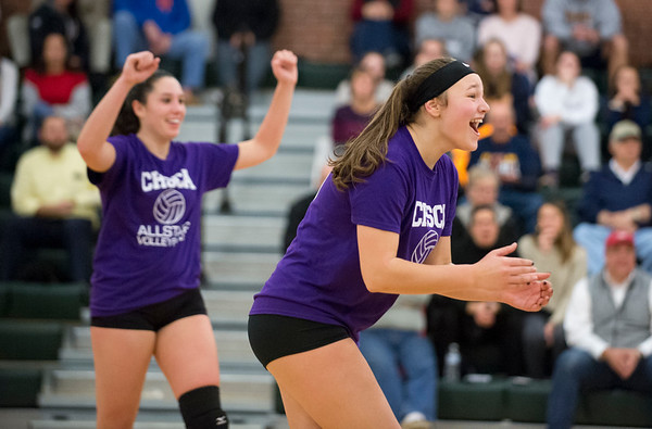 11/25/19 Wesley Bunnell | StaffrrThe CT Senior Alll-Stars Girls Volley Ball Game was held at Maloney High School on Monday night featuring three local players Kathryn Ross from Bristol Central, Rebecca Bender from Bristol Eastern and Raven Jarrett from New Britain. Kathryn Ross celebrates a point with teammates.