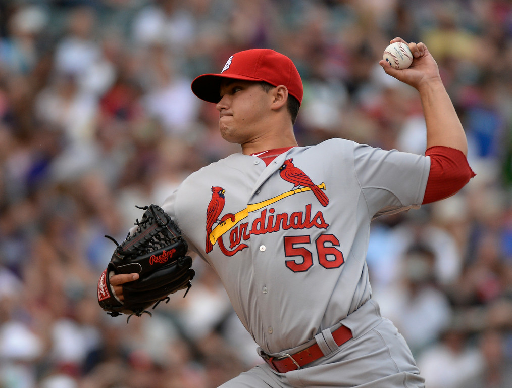 . St. Louis Cardinals starting pitcher Marco Gonzales (56) delivers a pitch in the fourth inning against the Colorado Rockies June 25, 2014 at Coors Field. (Photo by John Leyba/The Denver Post)