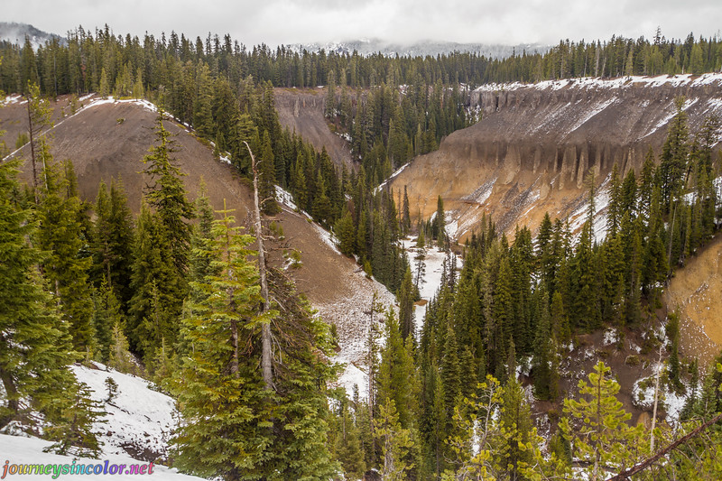 Snowy Volcanic Gorge Near Crater Lake, Oregon